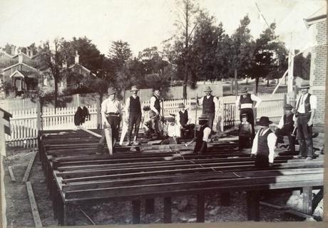 Volunteers Build the Timber Hall circa 1912